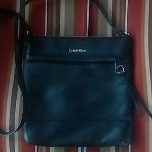 Calvin Klein black leather crossbody